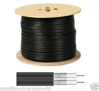 250m SKY Twin Shotgun Satellite Coaxial BLACK Cable, Full 250 Metre Roll