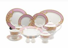 Italian Style  Pink/Gold Floral  Design Dinner Set 49 Pcs - Service For 8