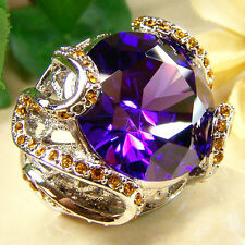 BOLD Royal PURPLE Crystal Fashion Ring - Silver Plated - SIZE 8 New!