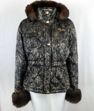 BABY PHAT Womens XL Puffer Jacket Hooded Quilted Faux Fur Trim