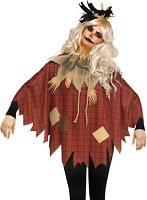 Womens Scary Crow Scarecrow Poncho Plaid Patches Burlap Collar Halloween Costume