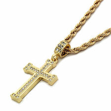 "Mens 14k Gold Plated Staple Cz Cross Pendant With 24"" inches Rope Necklace Chain"