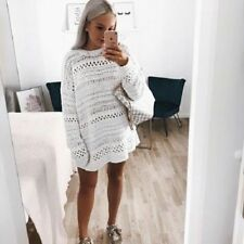 ZARA ECRU OVERSIZED CABLE-KNIT SWEATER WITH HIGH NECK SIZE M 12/14/16