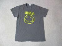 NIrvana Concert Shirt Adult Small Gray Yellow Kurt Cobain Rock Band Music Men H*