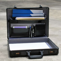 Aluminum Hard Briefcase Black Flight Suitcase with Interior Organizer Pocket