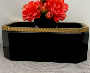 Antique French Black Opaline Box Caddy