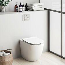 Elegant Rimless BTW Round Pan Toilet WC Modern Soft Closing Free Seat