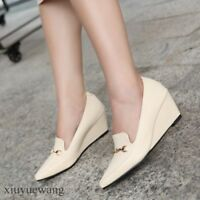 Womens Pointy toe High Wedge Heel PU Leather Pumps Slip ons Loafers Party Shoes