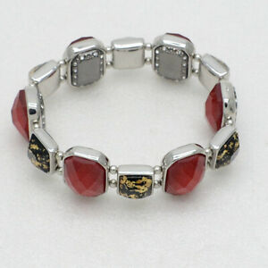 Chicos women Jewelry silver plated stretch cut crystals bracelet two tone bangle