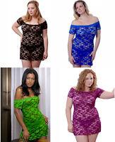 Plus Size Lingerie 1X thru 6X  Black Blue Green Grape Lace Mini Chemise VX5095X