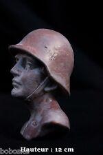 Buste d'un soldat Allemand en résine et plâtre (H: 12 cm) Photos ci-dessous