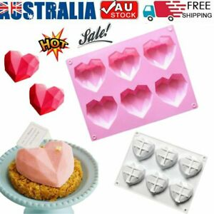 3D Diamond Heart Shape Silicone Cake Fondant Chocolate Mold Mould Baking Decors~