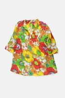 Womens Janis Floral Multi Semi Sheer Floral Retro Blouse Top Tunic Size M