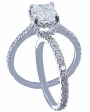 18k White Gold Cushion Cut Diamond Engagement Ring And Band Art Deco 1.80ctw