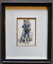 Maurice TOUSSAINT Aquarelle originale signée Guerre 1870-1871 Chasseur à pied