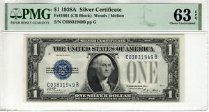 1928 A $1 SILVER CERTIFICATE NOTE CB BLOCK FR.1601 PMG CHOICE UNC 63 EPQ (949B)