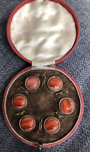 ANTIQUE ROSE GOLD & RED AGATE  DRESS SHIRT WAIST COAT  BUTTONS @ 1900 BOXED