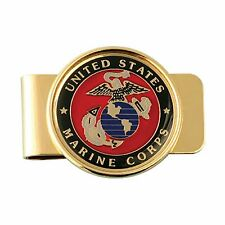 US MARINE CORPS USMC INSIGNIA MONEY CLIP - CHROME PLATED METAL!!