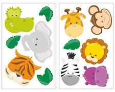 12-teiliges Dschungeltier Gesichter Set Löwe Kinderzimmer Aufkleber Sticker Affe