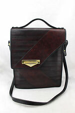 VINTAGE Brown Burgundy Leather Flap Attache Crossbody Briefcase Messenger Bag