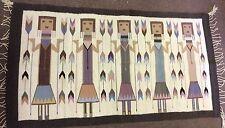 """Zapotec Yei Figures Corn Hand woven Rug Wall hanging decor 100% Wool 35""""x64"""""""