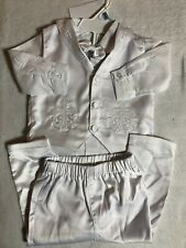 NWT Booulfi Baby 9-12 MO Christening Baptism Outfit Embroidered Crosses On Vest