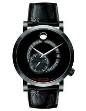 Movado Mens Red Label Calendomatic Watch, Black Dial, Alligator Strap, NEW NIB