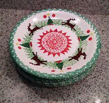 """MIDWEST Italy REINDEER Christmas SPONGEWARE 10 3/8"""" DINNER PLATES Set of 4"""