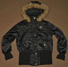 Girls SOUTH POLE Southpole Black JACKET Size Large 12/14 Faux Fur HOOD Hooded