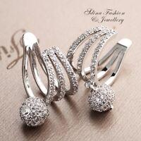 18K White Gold Filled Simulated Diamond Studded Stylish Ball Ear Cuff Earrings