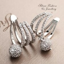 18K White Gold Filled Simulated Diamond Studded Stylish Ball Ear Cuff Earrings