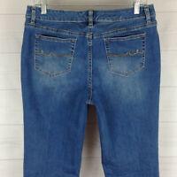 St. John's Bay women size 10 stretch blue medium wash mid rise bootcut jeans EUC