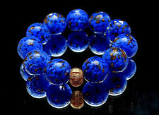 12 PCS Handmade Lampwork Glass Beads set Charm Bracelet Rondelle Murano (Blue)