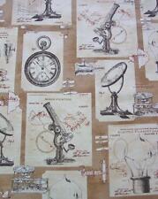 Objects Vintage Light Bulb Microscope Steampunk Robert Kaufman Fabric Yard