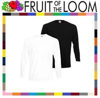Fruit of the Loom SUPER PREMIUM Long Sleeve 100% Cotton T Shirt Black or White