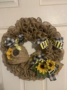 Beautiful Farmhouse Bumble Bee Burlap Wreath Great For Year Round Handmade Hive