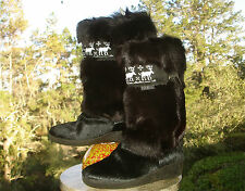 Tecnica Goat Fur Shearling Lined MOOSE Mid Calf Apres Ski Boot Womens 39 8 8.5