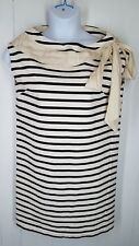 Rochas size 40 designer Striped Shift Dress sleeveless cotton black cream