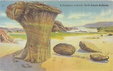 BADLANDS NORTH DAKOTA A SANDSTONE PEDESTAL~TOADSTOOL POSTCARD c1910s