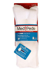 MediPeds 2 Pairs of White Socks for Symptoms of Diabetes (Size: Large)