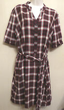 Jaeger UK16 EU44 wine/white/black check short-sleeved belted dress with 25% wool