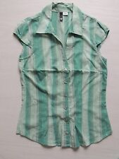 womens h&m mint green striped s/s shirt size small