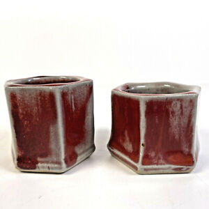 Studio Pottery 2x Hexagonal Candle Holders Red Candlesticks Stamp PS Paul Stubbs