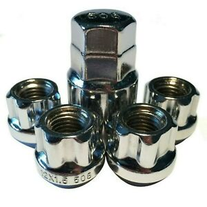 LOCKING LUG NUTS WHEEL LOCKS OPEN END CHROME BULGE ACORN 12X1.5 FITS HONDA ACURA