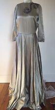 Vintage 1940s Green Liquid Satin Evening Gown Starburst Beading Sequins Dress