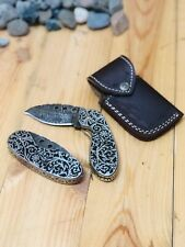 MH Knives Extremely Classic Floral Pattern Damascus Handmade Folding Knife MH-6