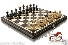 SUPERB ''PEARL'' WOODEN CHESS SET 35X35! BURNT DESIGN ON CHESSMEN - BARGAIN !!!
