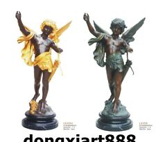 155 CM Art Deco Sculpture Cupid's arrow Cupid archery Bronze Gild Marble Statue