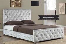 EasyHome Diamante Studded Luxury Upholstered Crushed Velvet Bed Frame 4Ft6