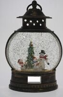 COTTON CANDY  CHRISTMAS ROUND LANTERN  WITH SNOWMAN   LIGHT UP LED WITH GLITTER
